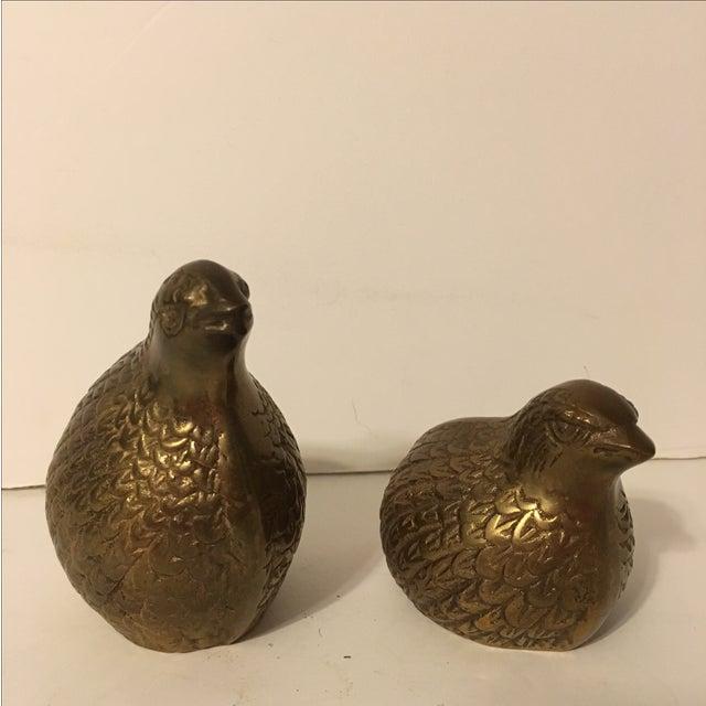 Vintage Brass Quails - A Pair - Image 2 of 6
