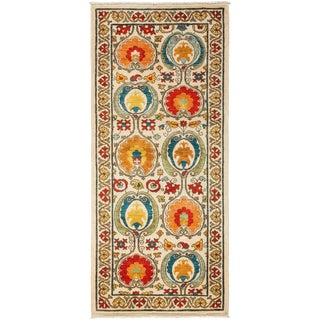 "Suzani, Hand Knotted Runner - 3'3"" X 7'5"""