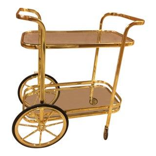 Brassy Mid-Century Bar Cart