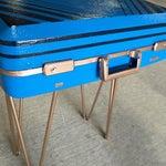 Image of Vintage Retro Blue Suitcase Table