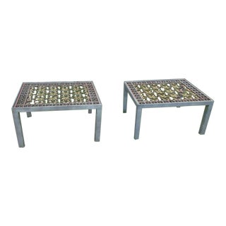 Architectural Industrial Iron & Bronze End Tables - A Pair