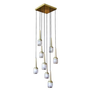 Eight Hanging Light Brass Chandelier by Staff of Germany