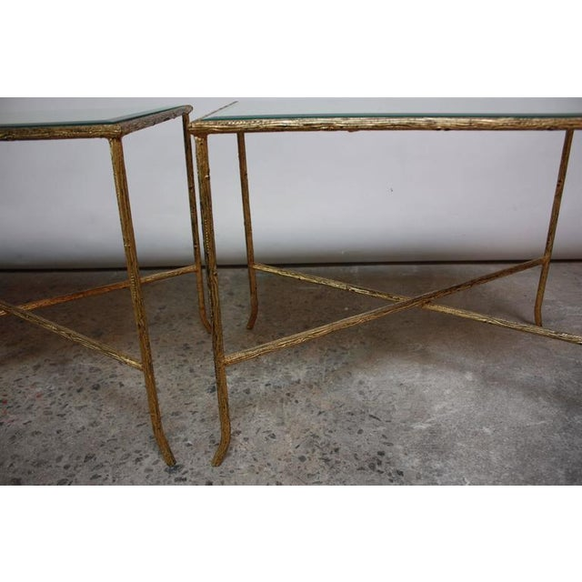 Pair of Italian Gilded X-Base Side Tables with Mirror Tops - Image 7 of 10