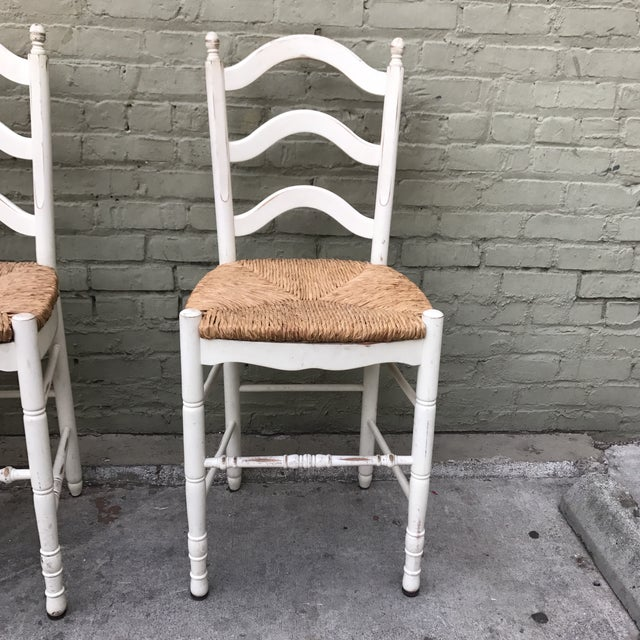 Painted Barstools with Rush Seats -- Set of 3 - Image 4 of 6