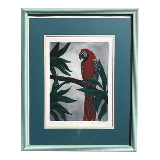 Regency Style Original Signed Parrot Painting