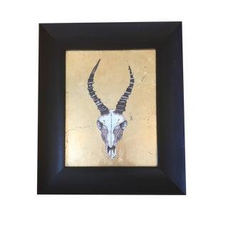 """Gold Gilded """"Impala Skull"""" Print by Rachel Brown   Framed"""