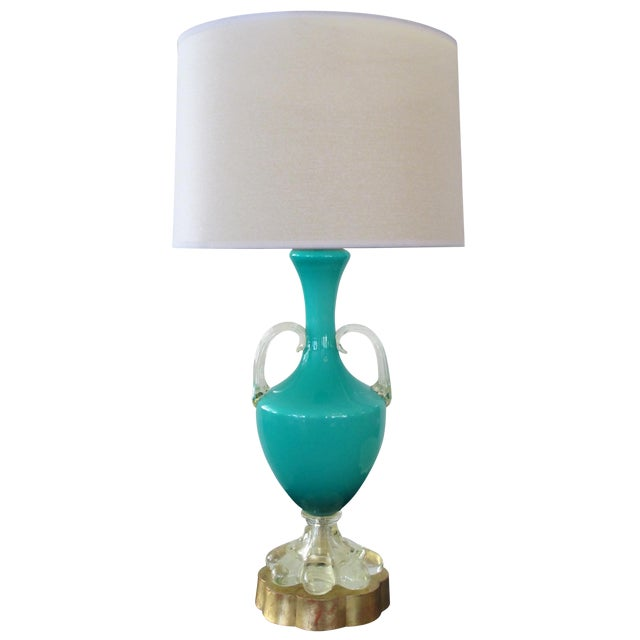 An Italian Teal Cased-Glass Double-Handled Urn-Form Lamp - Image 1 of 5
