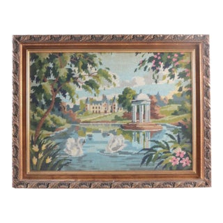 Framed Two Swans in Lake Needlepoint