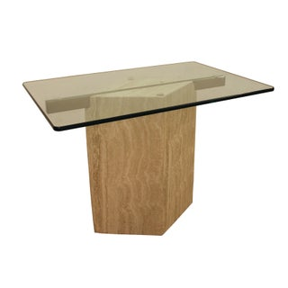 Mid-Century Modern Travertine Cantilever Glass Top Side Table