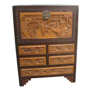 Vintage Asian Carved Mixed Wood Chest