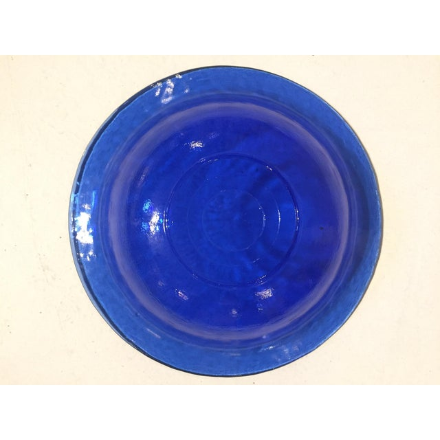 Mid-Century Blue Glass Bowl - Image 6 of 6