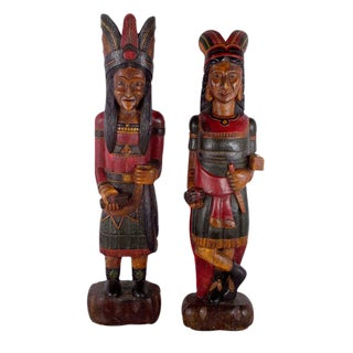 Hand Carved Native American Couple - A Pair