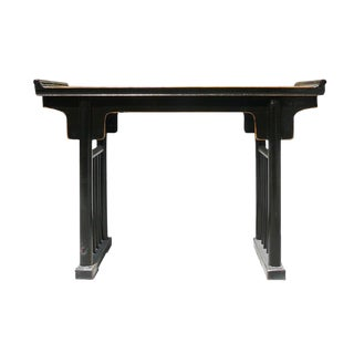 Chinese Ancient Design Black Lacquer Elm Wood Altar Table