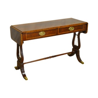 Baker Banded Mahogany Drop Leaf Hall Table w/ Lyre Base