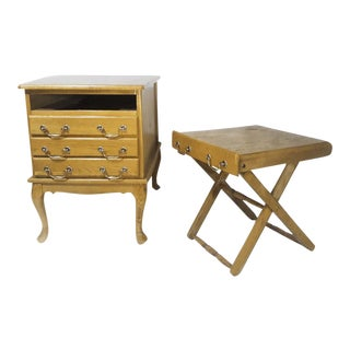 Folding Snack Tables in Storage Side Table Cabinet