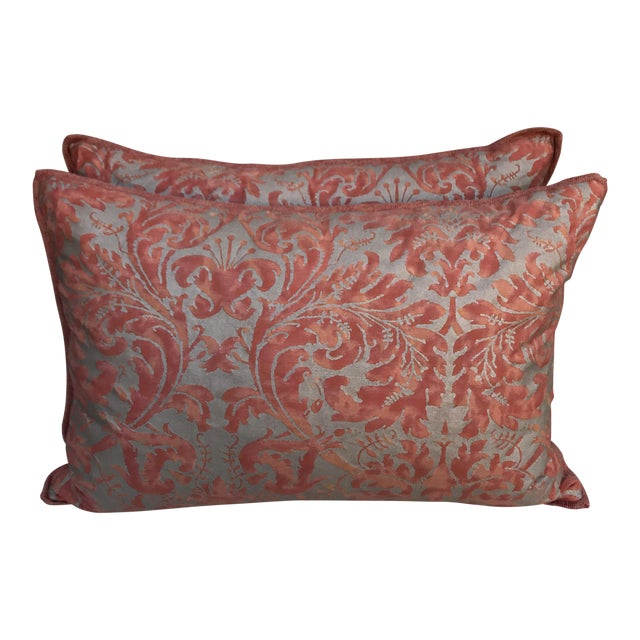Fortuny Silvery Gold Textile Pillows - A Pair - Image 1 of 5