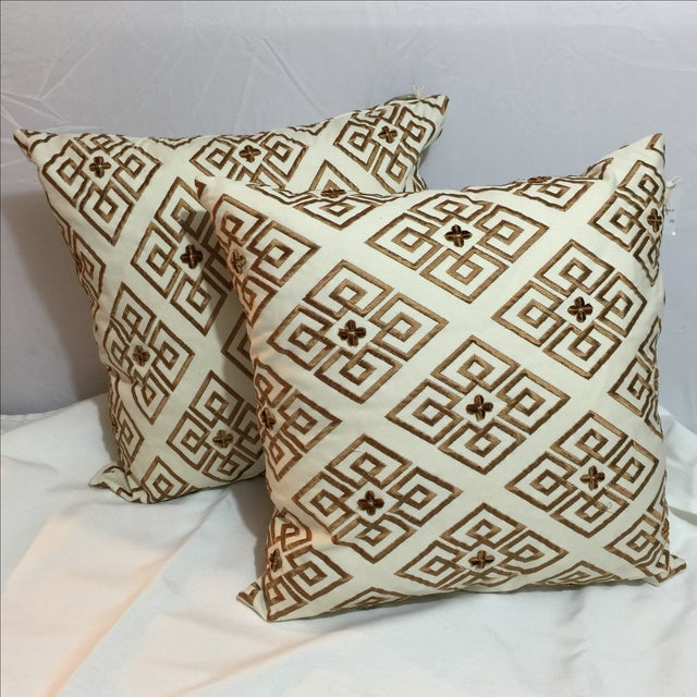 Custom Embroidered Brown Pillows - A Pair - Image 2 of 5