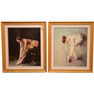 Andrea Tieron Original Ballerina Oil Paintings - A Pair