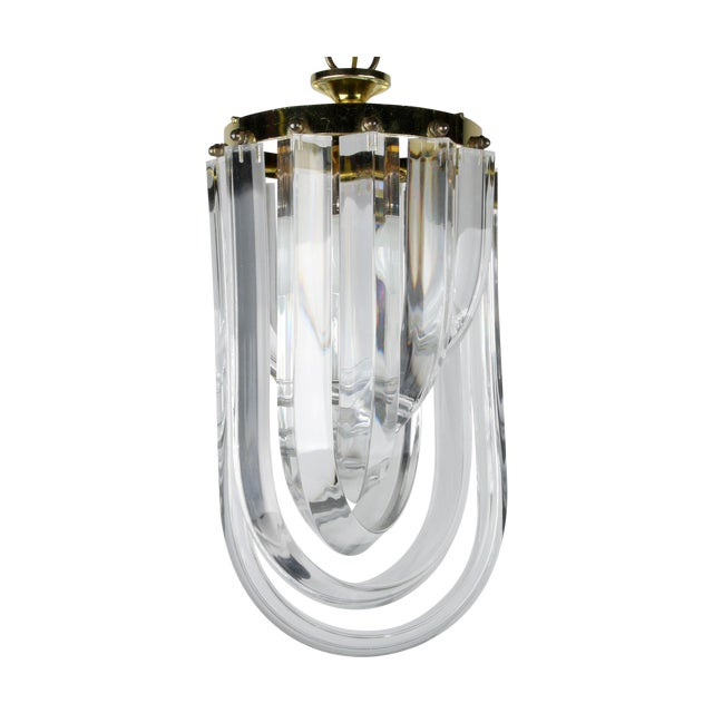 Lucite & Brass Ribbon Chandelier With Canopy - Image 1 of 7