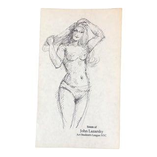Vintage Original Female Nude Ink Sketch