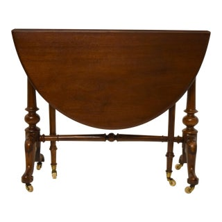 19th-Century English Walnut Drop Leaf Table