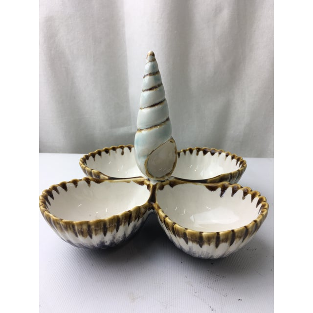 Transitional Majolica Seashell Style Nut Server - Image 4 of 5