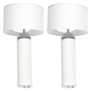 Cream White Glazed Ceramic Table Lamps - A Pair
