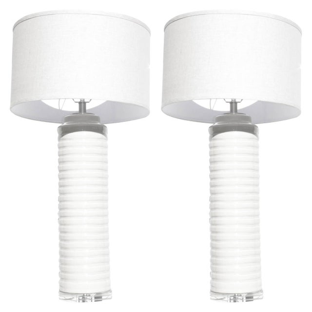 Image of Cream White Glazed Ceramic Table Lamps - A Pair