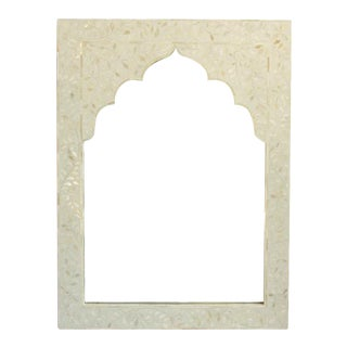 White Inlay Arched Mirror