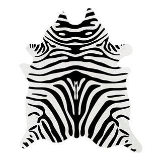 Zebra Black & Ivory Cowhide Rug - 6' x 7'