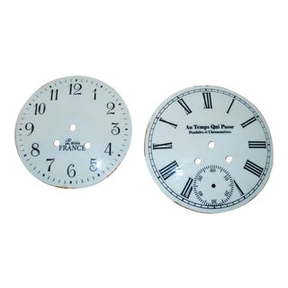 French Shabby Chic Clock Faces - A Pair