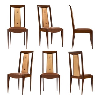 French Art Deco Solid Walnut Dining Chairs- Set of 6