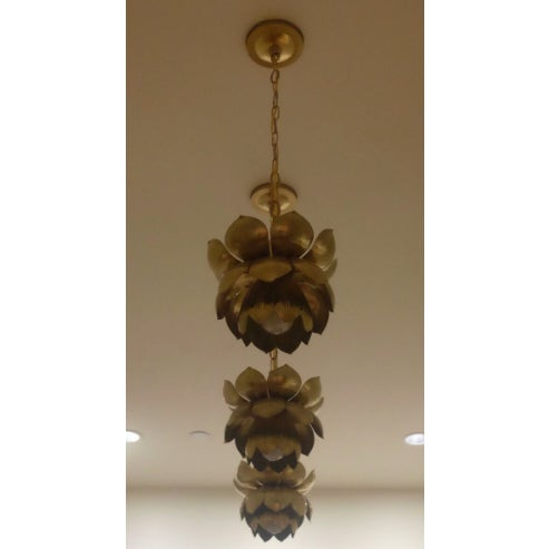 Small Brass Lotus Pendant Lights - Set of 3 - Image 5 of 7