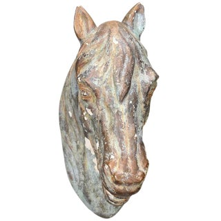French Painted Horse Head Sculpture from the Early 20th Century
