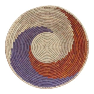Hand Woven Purple & Red Swirl Basket