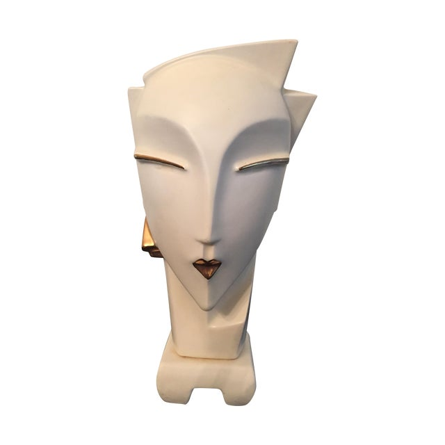 Vintage 1980s Deco Revival White Bust Sculpture - Image 1 of 9