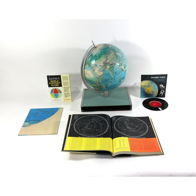 Image of 1960s Rand McNally New World Portrait Globe Set