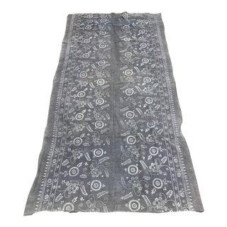Faded Antique Gray Batik Textile Panel
