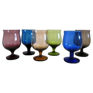 Multicolor Footed Cordials- Set of 6
