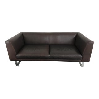 Brown Leather Studio Sofa