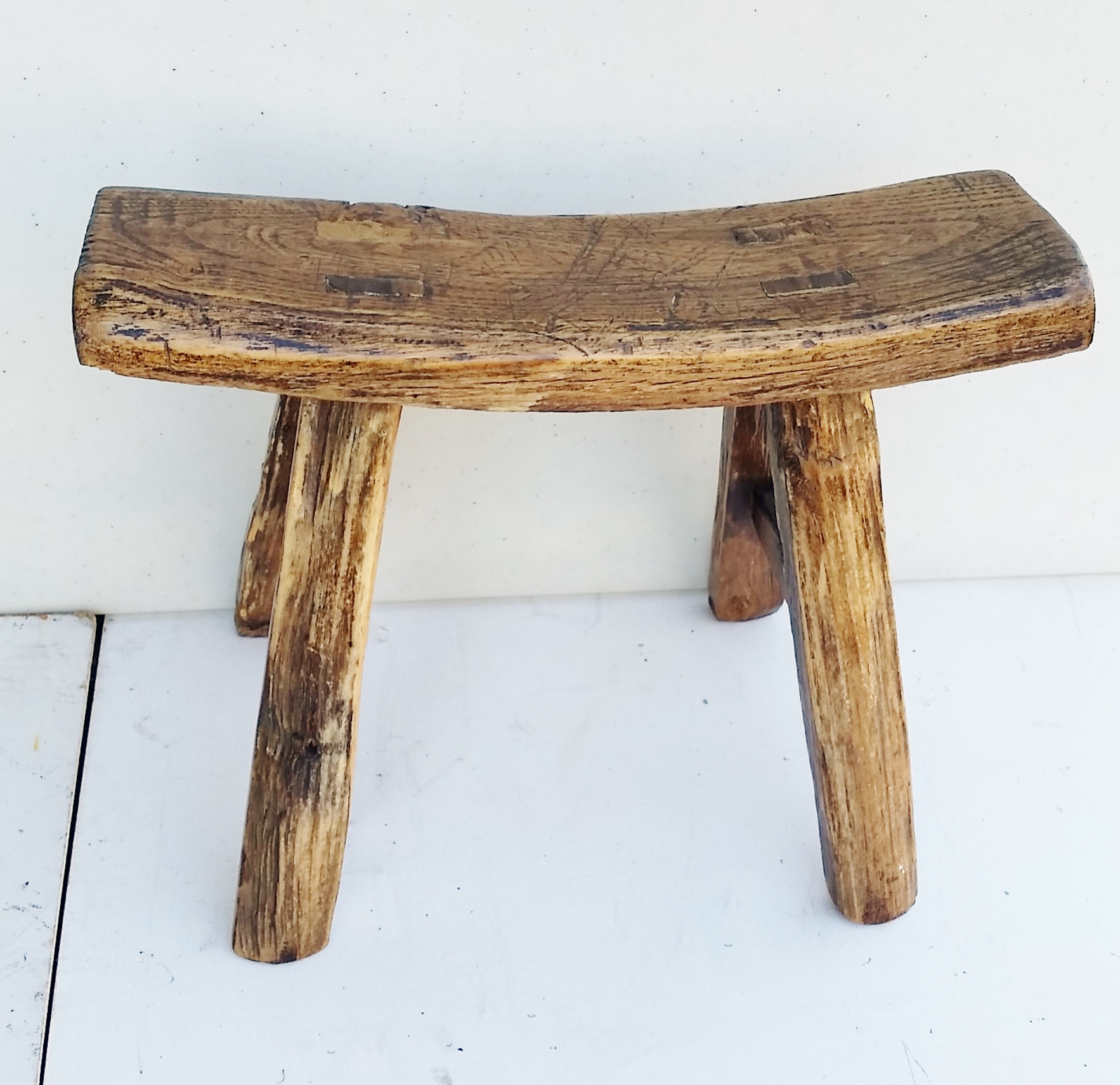 Wonderful Milking Bench Part - 5: Vintage Chinese Elm Stool Milking Bench - Image 2 Of 5