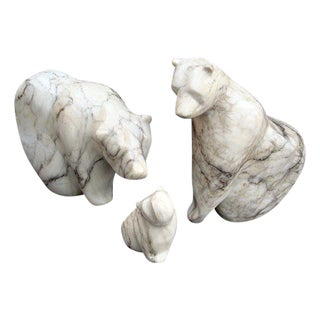 Sculpted Marble Bear Family Trio