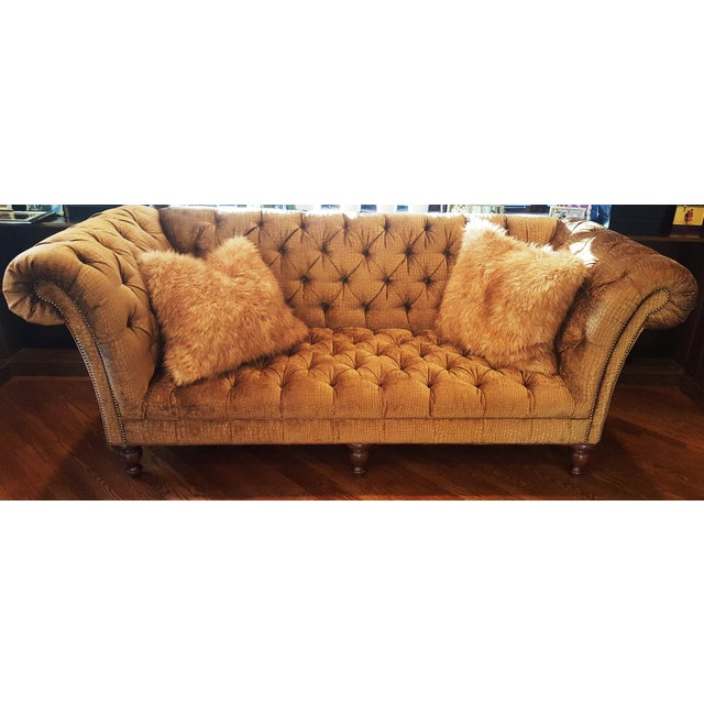Crocodile Embossed Chenille Chesterfield Sofa | Chairish