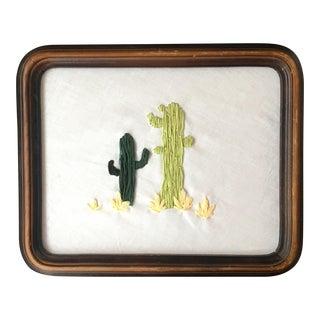Antique Framed Saguaro Embroidery
