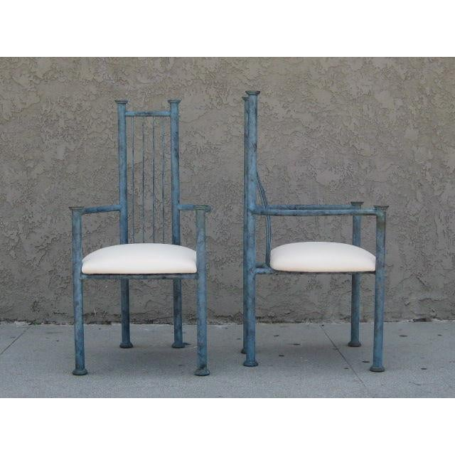 Blue Patinated Metal Chairs - Set Of 4 - Image 6 of 6