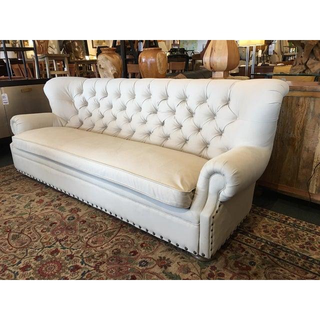 Restoration hardware tufted churchill sofa chairish for Restoration hardware tufted sectional sofa