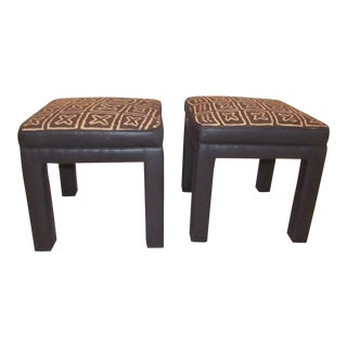 Contemporary Upholstered Matching Square Benches - a Pair