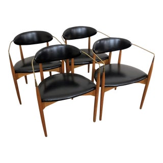 Dan Johnson Black Vinyl Viscount Chairs - Set of 4