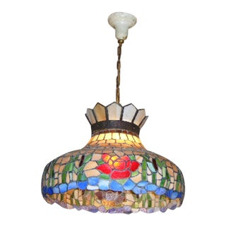 Antique Tiffany Style Stained Glass Hanging Chandelier