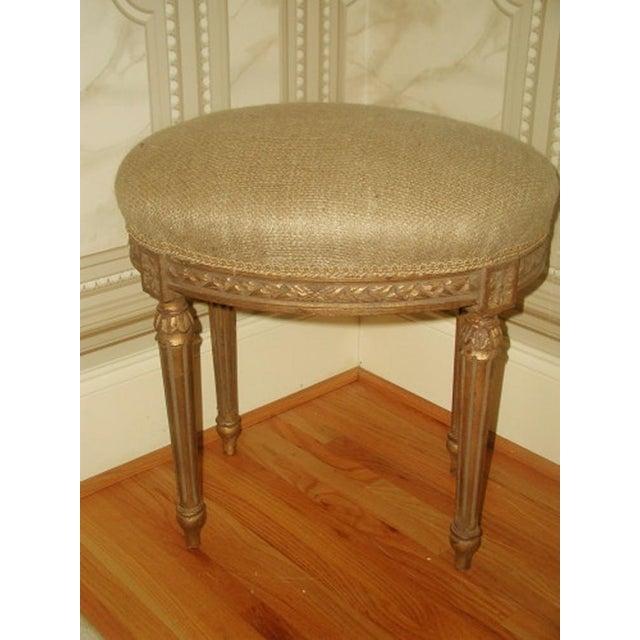 Antique french louis xvi gilt vanity stool chairish - Antique vanity stools ...